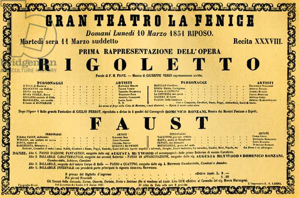 VERDI Giuseppe -Rigoletto premiere