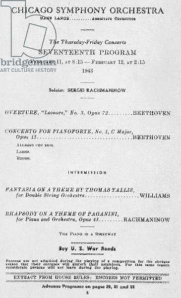 Concert programme - Chicago Symphony Orchestra with Rachmaninoff