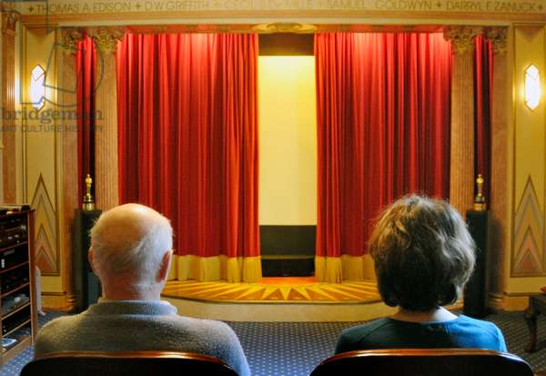Velvet red curtains slightly