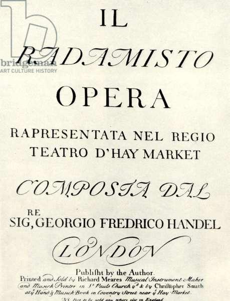 HANDEL'S RADAMISTO titlepage of