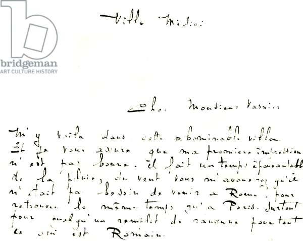 Letter from Claude Debussy to Monsieur Vasnier