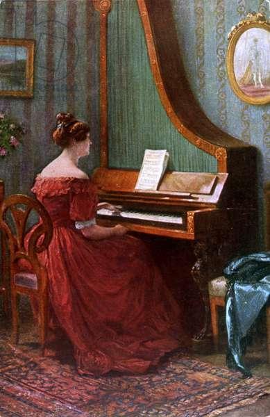 Woman playing upright giraffe piano