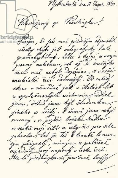 Letter from Bedrich Smetana