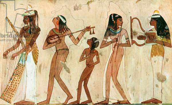 Egyptian wall-painting showing musicians
