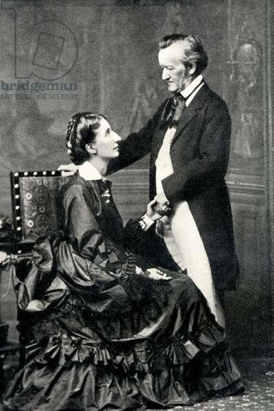 Richard and Cosima Wagner, Bayreuth 1872 (b/w photo)