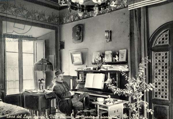 Giacomo Puccini at home