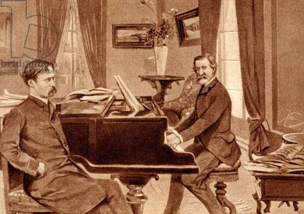 Giuseppe Verdi and Arrigo Boito (librettist of Otello and Falstaff), 1870