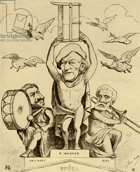 Richard Wagner as a statue - caricature