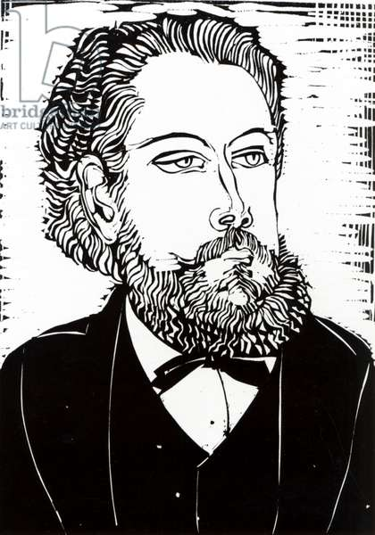 Portrait of the Composer Modest Petrovich Moussorgsky (1835-81) illustration from the 'Revue Musical', issue No.6, April 1922 (woodcut)