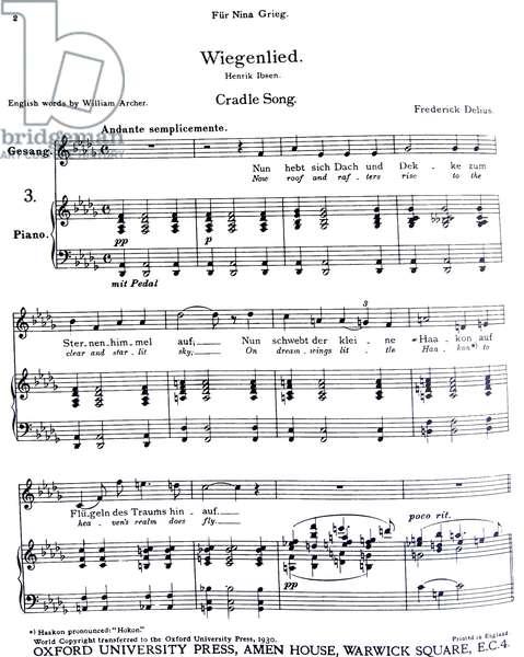 Frederick Delius' Cradle Song