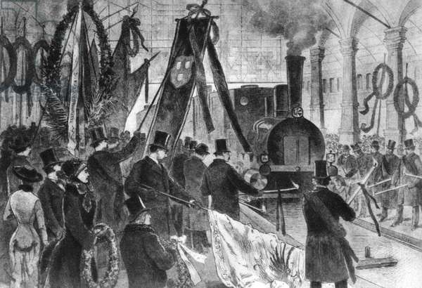 Arrival of Richard Wagner's coffin at Munich station, 1883