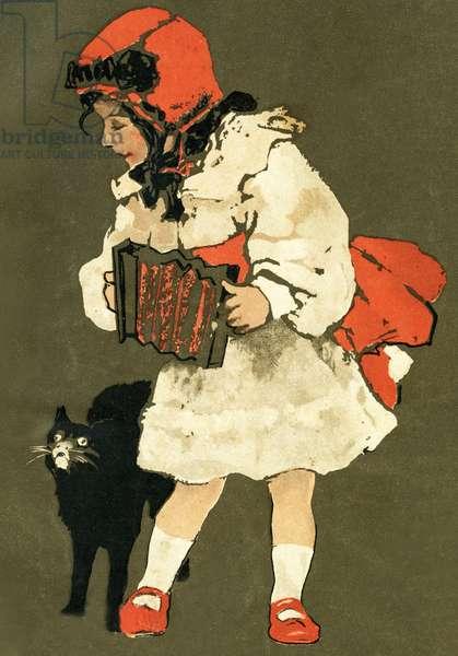 Girl playing the accordian