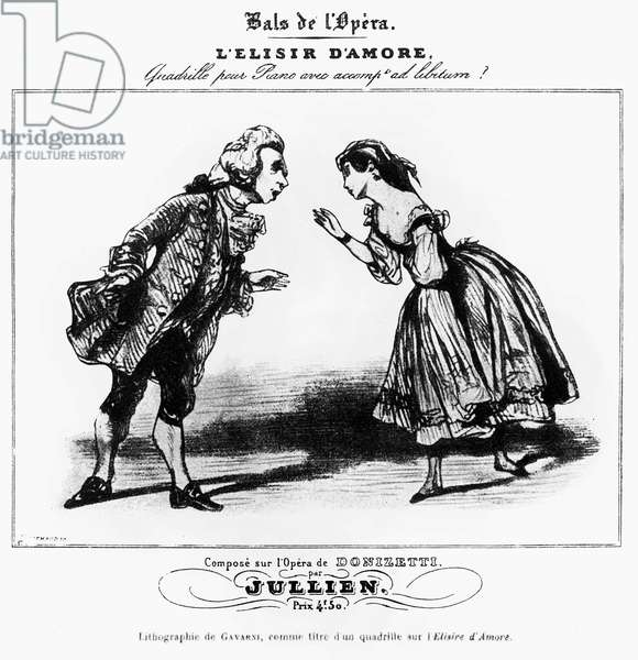 The Senator and the Gondolier, Characters in the Opera  L'Elisir d'Amore by Gaetano Donizetti (1797-1848), 19th century