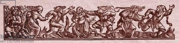 Medieval dancers performing a