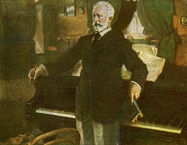 Tchaikovsky standing composing at