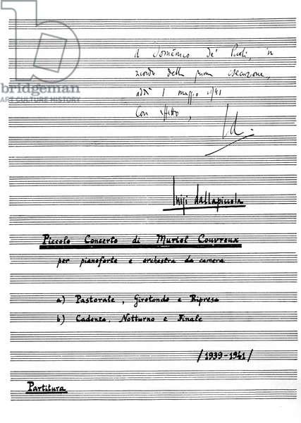 Luigi Dallapiccola 's Piccolo concerto per Muriel Couvreux