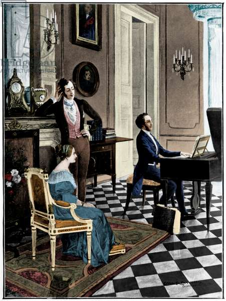 Felix Mendelssohn - the German composer playing the piano to Queen Victoria and Prince Albert, 1842