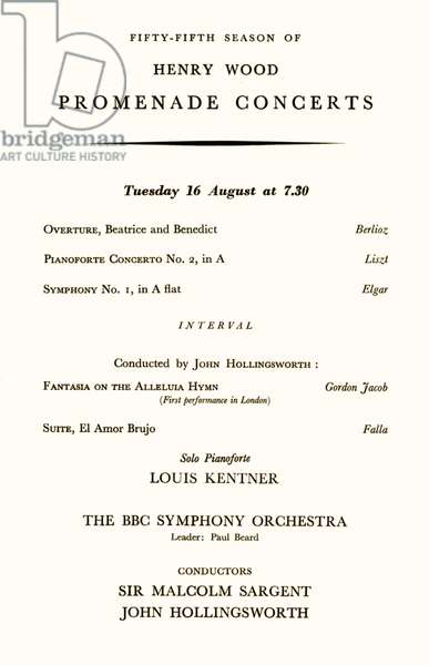 Inside page of programme