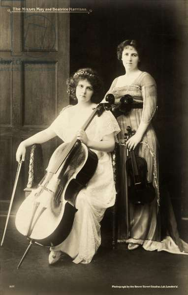 Beatrice Harrison (1892-1965) English cellist and her sister May Harrison (1890-1959) English violinist, c.1908