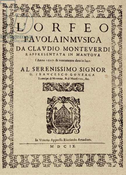 'Orfeo' by Claudio Monteverdi - title page