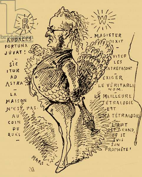 Richard Wagner as a peacock - caricature