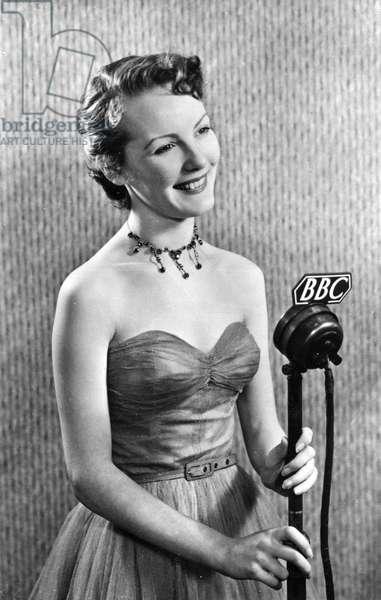 Petula Clark in the 1950s making a radio