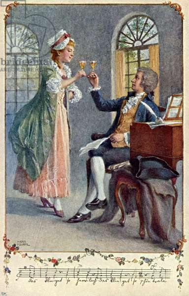 Wolfgang Amadeus Mozart working