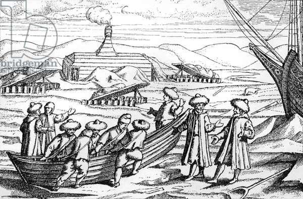 The Barents expedition arriving at Novaya Zemlya