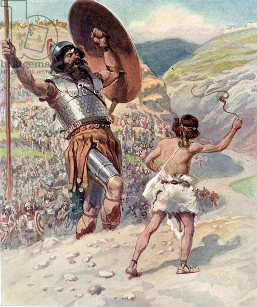 David slings the stone by J James Tissot - Bible