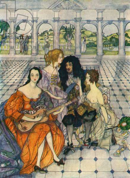 Charles II with his mistresses - illustration by Kitty Shannon