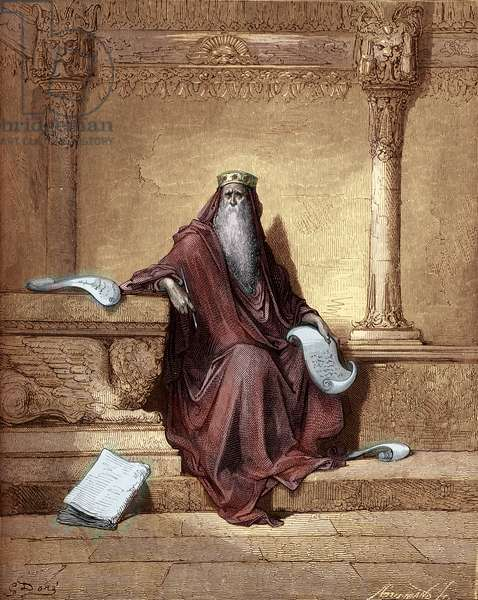 King Solomon engraving by Gustave Doré. - Bible
