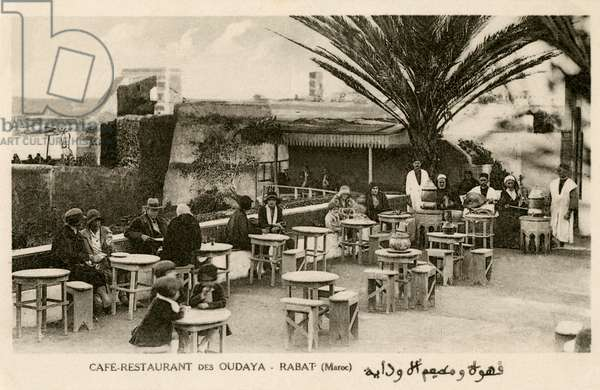 French and Moroccans at the Oudaya Café, Rabat