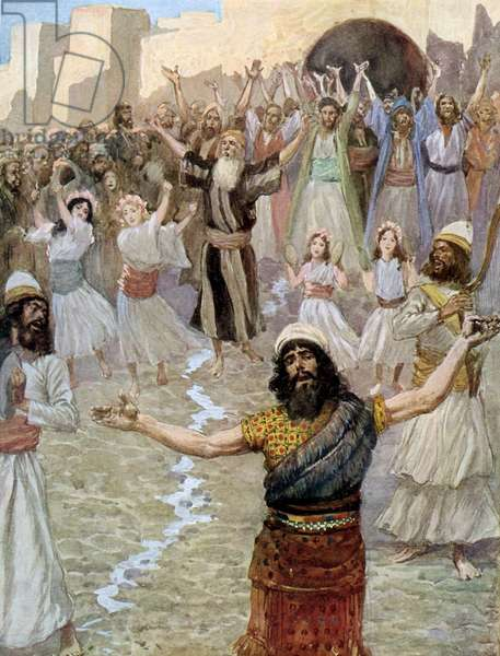 Saul prophesies with the prophets by Tissot -Bible