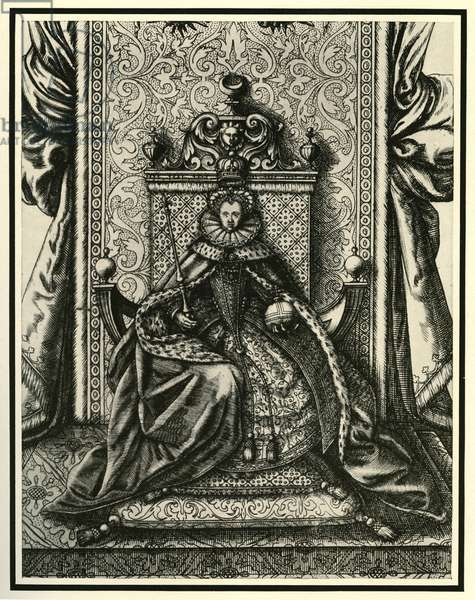 Queen Elizabeth I seated in Parliament