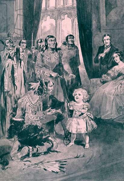 Infant Edward VII plays with Ojibwe chiefs