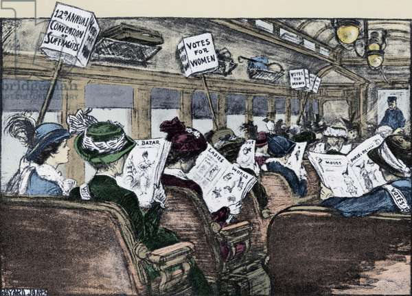 Suffragettes travelling to a convention