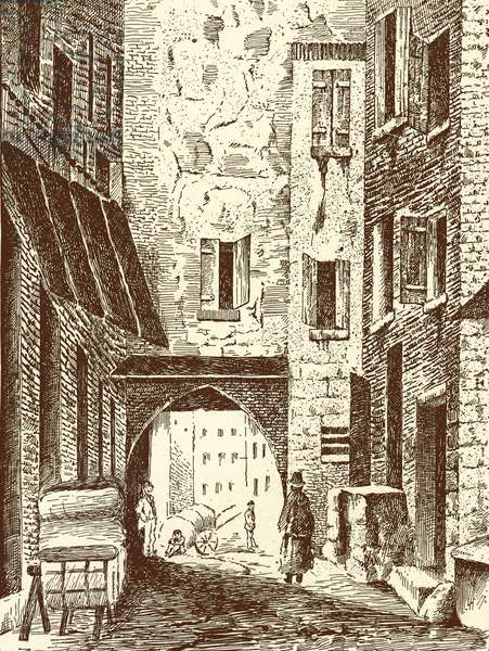 North Gate of the Jewry at Carpentras, France, late 19th-early 20th century (litho)