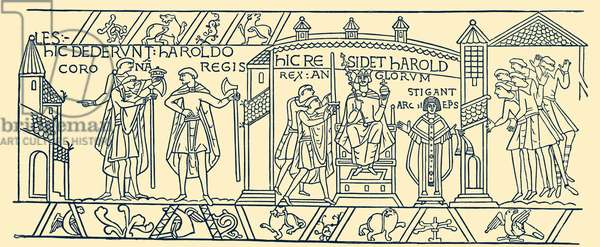 Bayeux Tapestry: Coronation of Harold II