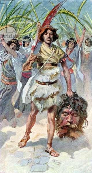 David takes head of Goliath to Jerusalem - Bible