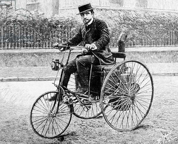 Leon Serpollet on his steam tricycle, 1888