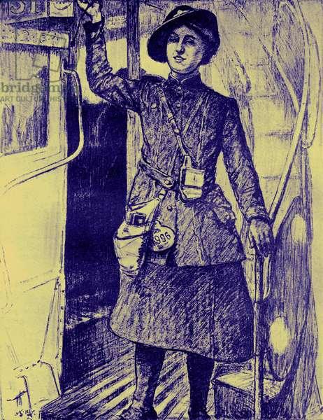 WW1 era female bus conductor