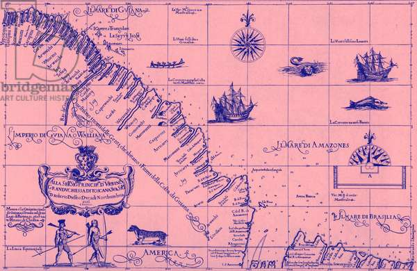 Map of the Coast of Guiana, from Robert Dudley's Dell'Arcano del Mare, 1646-67