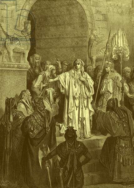Queen Vashti, engraving by Doré. - Bible