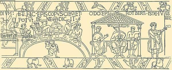 Bayeux Tapestry:  Bishop Odo saying grace