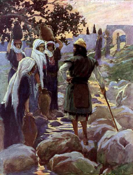 Saul questions the young maidens by Tissot -Bible