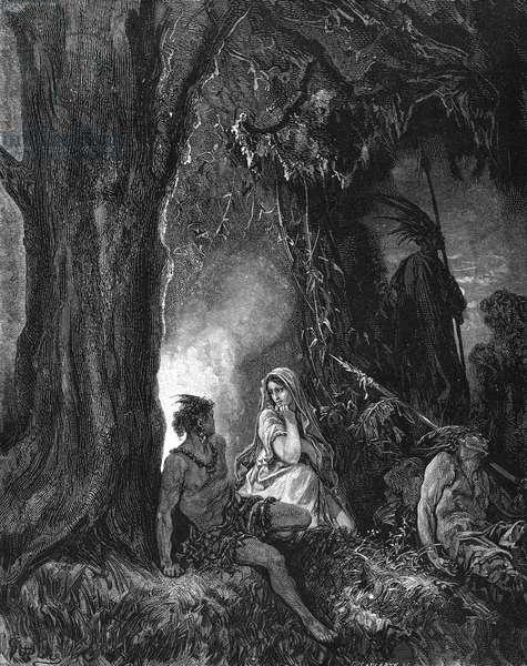 Chactas and Atala, engraving by Doré.