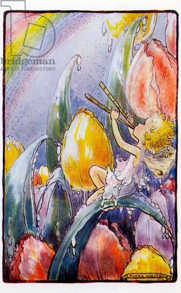 Fairy playing panpipes - from illustration by Flora White