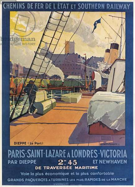 Railway travel poster -Dieppe to London