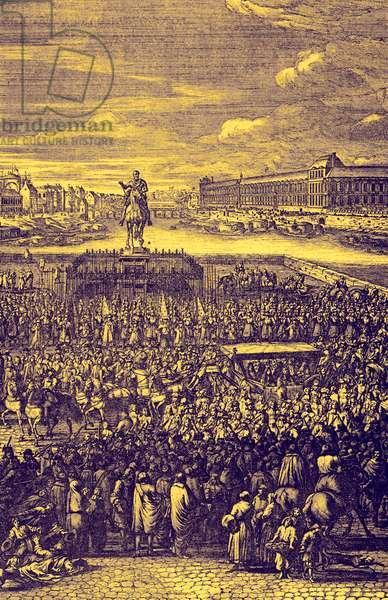 Louis XIV 's carriage on the Pont-Neuf, Paris