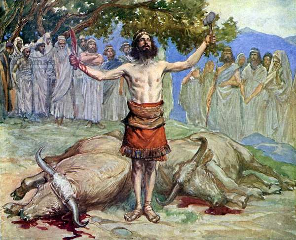 Saul sacrifices the oxen by J James Tissot - Bible